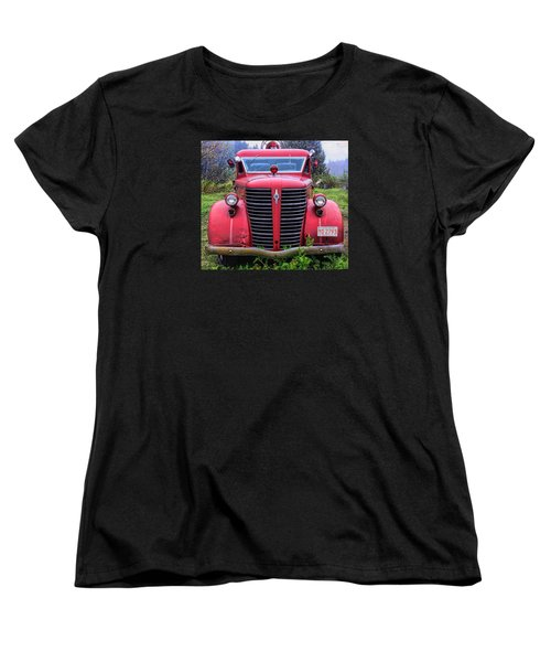 Women's T-Shirt (Standard Cut) featuring the photograph American Foamite Firetruck1 by Susan Crossman Buscho