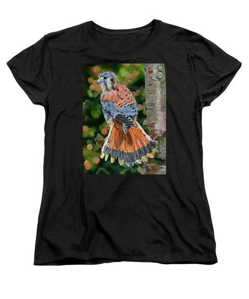 American Kestrel In My Garden Women's T-Shirt (Standard Cut) by Phyllis Beiser