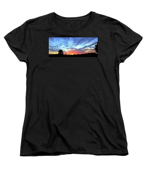 Women's T-Shirt (Standard Cut) featuring the photograph City On A Hill - Americus, Ga Sunset by Jerry Battle