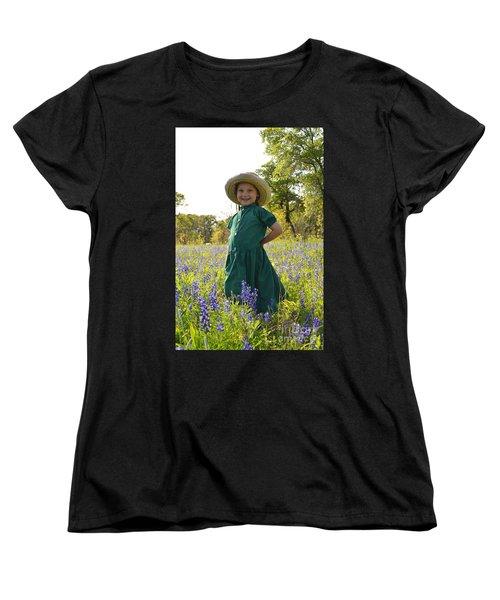 Amish Girl And Blue Bonnets I Women's T-Shirt (Standard Cut) by Carolina Liechtenstein