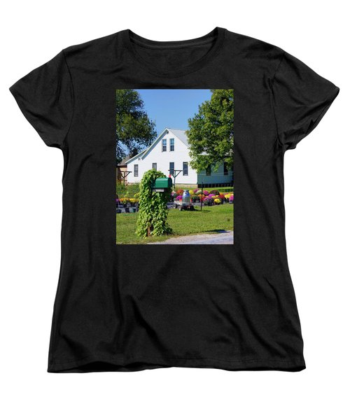 Women's T-Shirt (Standard Cut) featuring the photograph Amish House With Mums by Cricket Hackmann