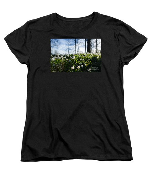 Women's T-Shirt (Standard Cut) featuring the photograph Among Windflowers On The Ground by Kennerth and Birgitta Kullman