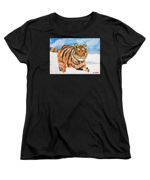 Amur Tiger Women's T-Shirt (Standard Cut) by Valerie Ornstein
