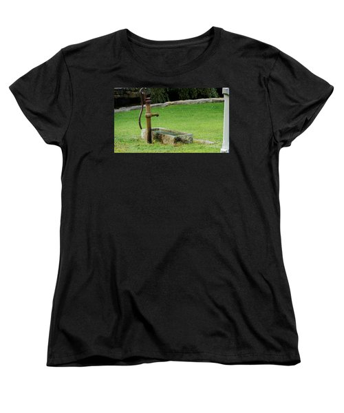 Women's T-Shirt (Standard Cut) featuring the painting An Old Hand Pump In Plymouth,mass by Rod Jellison