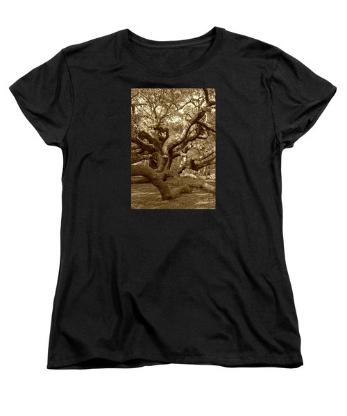 Angel Oak In Sepia Women's T-Shirt (Standard Cut) by Suzanne Gaff