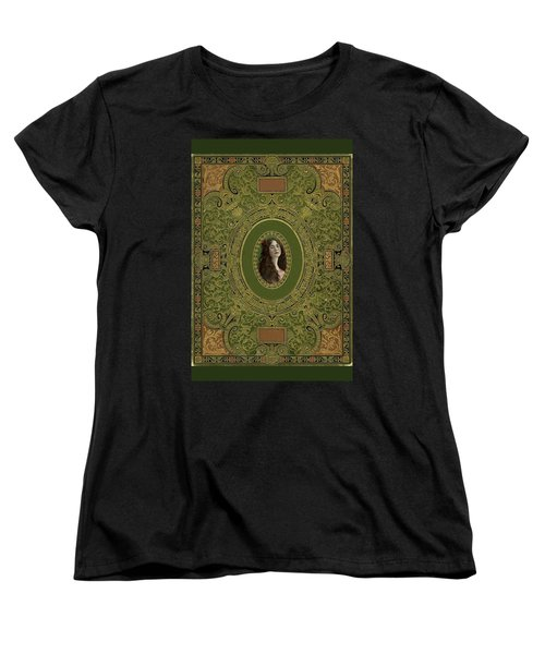 Antique Book Cover With Cameo - Green And Gold Women's T-Shirt (Standard Cut) by Peggy Collins