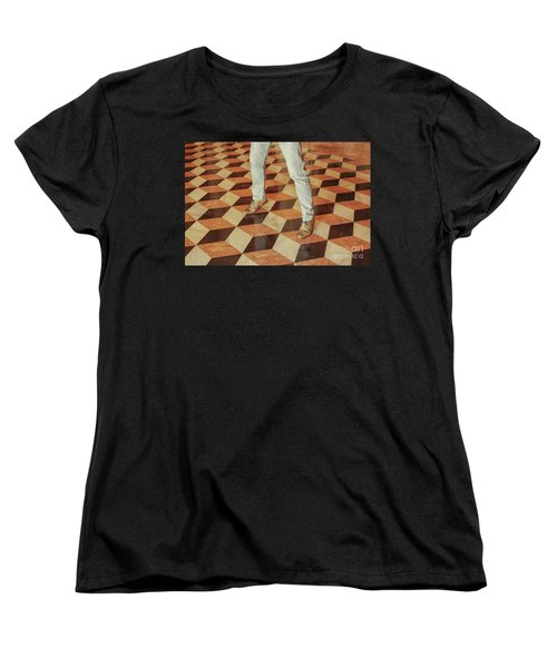 Women's T-Shirt (Standard Cut) featuring the photograph Antique Optical Illusion Floor Tiles by Patricia Hofmeester