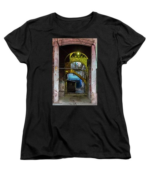 Women's T-Shirt (Standard Cut) featuring the photograph Apartment Enrance Havana Cuba Near Calle C by Charles Harden