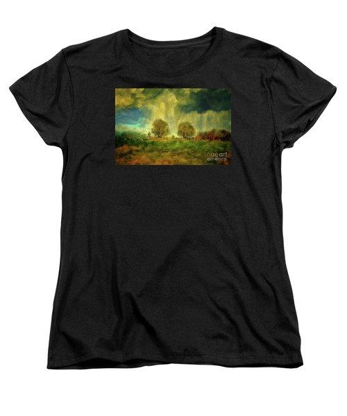 Women's T-Shirt (Standard Cut) featuring the digital art Approaching Storm At Antietam by Lois Bryan