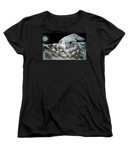 Women's T-Shirt (Standard Cut) featuring the painting Arctic Encounter by Sherry Shipley