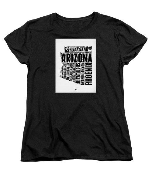 Arizona Word Cloud Map 2 Women's T-Shirt (Standard Cut) by Naxart Studio