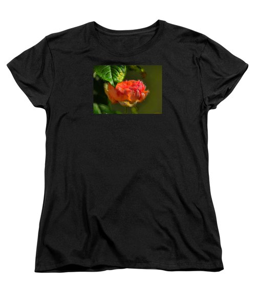 Artistic Rose And Leaf Women's T-Shirt (Standard Cut) by Leif Sohlman