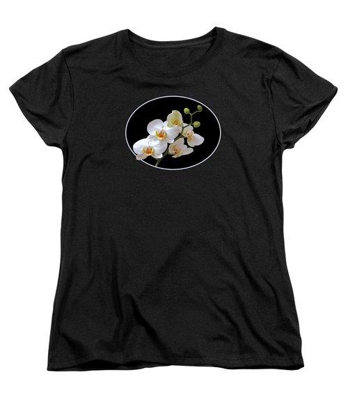 White Orchids On Black Women's T-Shirt (Standard Cut)