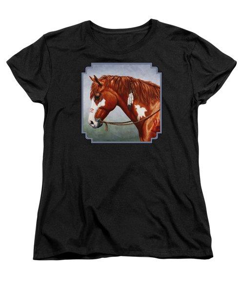 Native American War Horse Women's T-Shirt (Standard Cut) by Crista Forest
