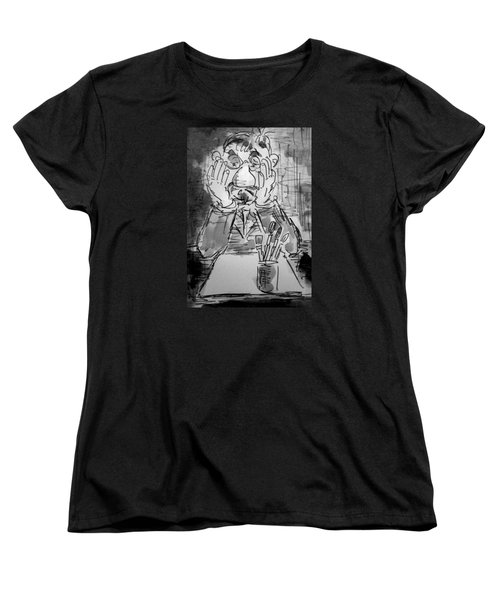 Women's T-Shirt (Standard Cut) featuring the painting Old Geezer Grappling With A White Sheet Of Paper by Alfred Motzer