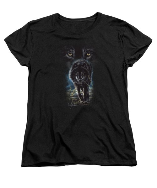 Black Wolf Hunting Women's T-Shirt (Standard Cut) by Lucie Bilodeau