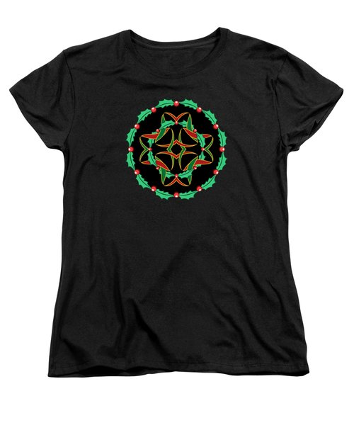 Celtic Christmas Holly Wreath Women's T-Shirt (Standard Cut) by MM Anderson