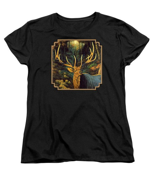 Elk Painting - Autumn Majesty Women's T-Shirt (Standard Cut) by Crista Forest