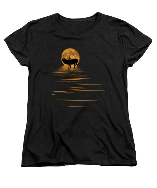 Elk In The Moonlight Women's T-Shirt (Standard Cut) by Shane Bechler