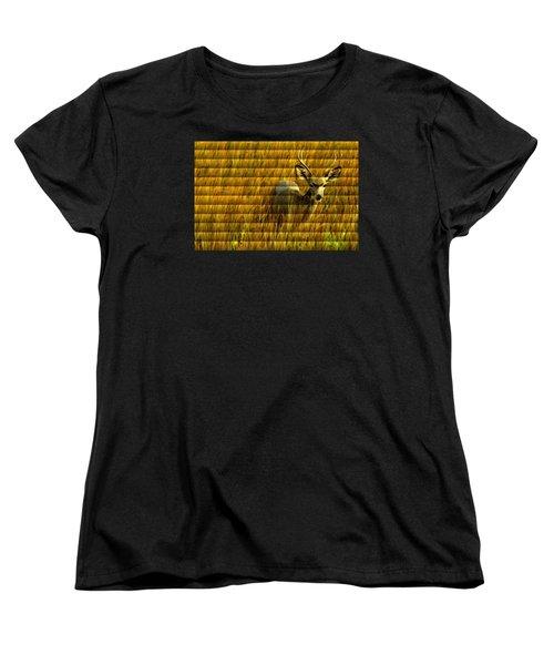 The Buck Poses Here Women's T-Shirt (Standard Cut) by Bill Kesler