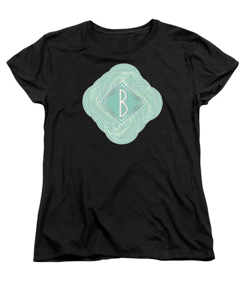 1920s Blue Deco Jazz Swing Monogram ...letter B Women's T-Shirt (Standard Cut) by Cecely Bloom