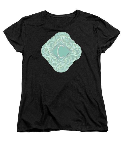 1920s Blue Deco Jazz Swing Monogram ...letter C Women's T-Shirt (Standard Cut) by Cecely Bloom