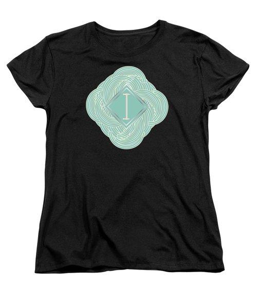 1920s Blue Deco Jazz Swing Monogram ...letter I Women's T-Shirt (Standard Cut) by Cecely Bloom