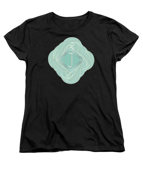 1920s Blue Deco Jazz Swing Monogram ...letter J Women's T-Shirt (Standard Cut) by Cecely Bloom