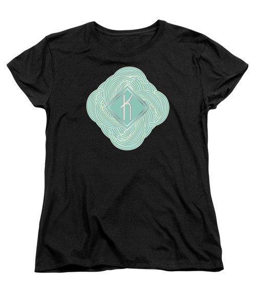 1920s Blue Deco Jazz Swing Monogram ...letter K Women's T-Shirt (Standard Cut) by Cecely Bloom