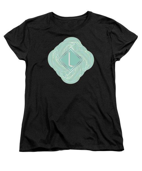 1920s Blue Deco Jazz Swing Monogram ...letter L Women's T-Shirt (Standard Cut) by Cecely Bloom