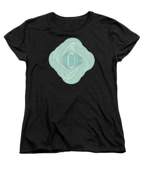 1920s Blue Deco Jazz Swing Monogram ...letter O Women's T-Shirt (Standard Cut) by Cecely Bloom