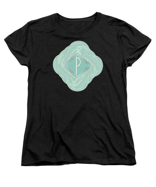 1920s Blue Deco Jazz Swing Monogram ...letter P Women's T-Shirt (Standard Cut) by Cecely Bloom