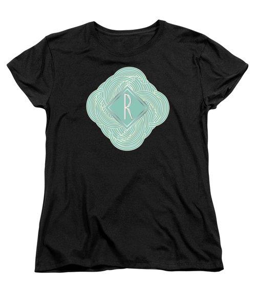 1920s Blue Deco Jazz Swing Monogram ...letter R Women's T-Shirt (Standard Cut) by Cecely Bloom