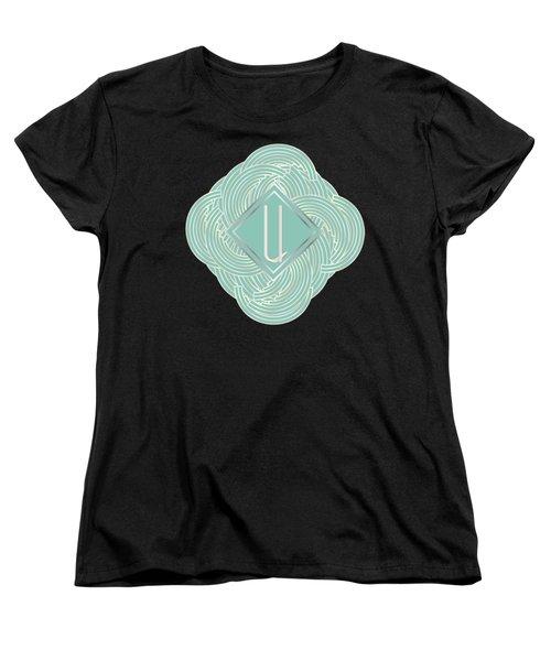1920s Blue Deco Jazz Swing Monogram ...letter U Women's T-Shirt (Standard Cut) by Cecely Bloom