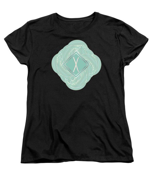 1920s Blue Deco Jazz Swing Monogram ...letter X Women's T-Shirt (Standard Cut) by Cecely Bloom