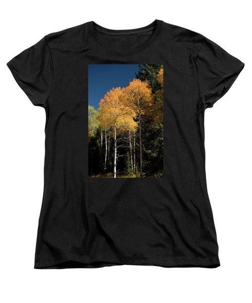 Women's T-Shirt (Standard Cut) featuring the photograph Aspens And Sky by Steve Stuller