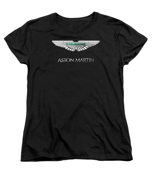 Aston Martin 3 D Badge On Black  Women's T-Shirt (Standard Cut) by Serge Averbukh