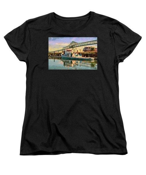 Women's T-Shirt (Standard Cut) featuring the painting Astoria Waterfront, Scene 1 by Jeff Kolker