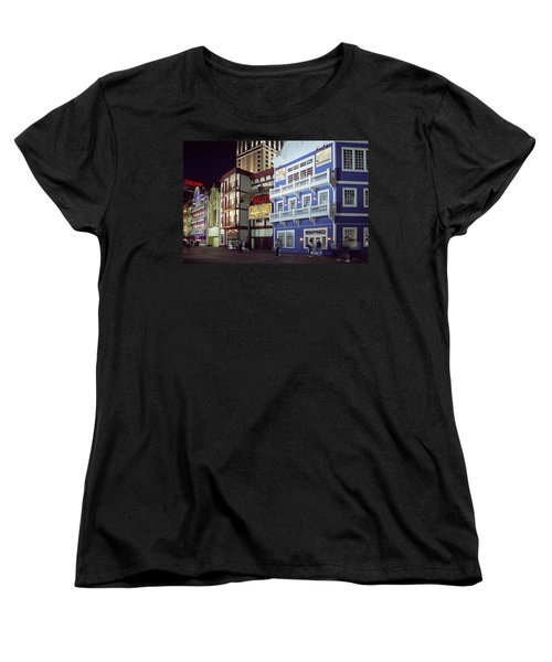 Women's T-Shirt (Standard Cut) featuring the photograph Atlantic City Boardwalk At Night by Sally Weigand