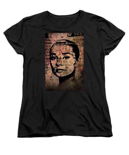Women's T-Shirt (Standard Cut) featuring the mixed media Audrey Hepburn #7 by Kim Gauge
