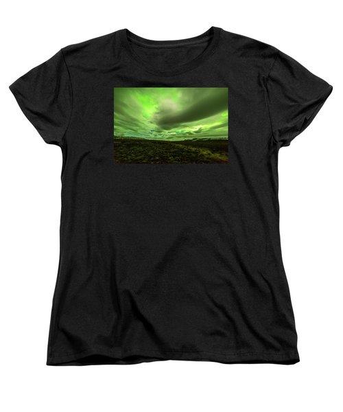 Aurora Borealis Over A Frozen Lake Women's T-Shirt (Standard Cut) by Joe Belanger