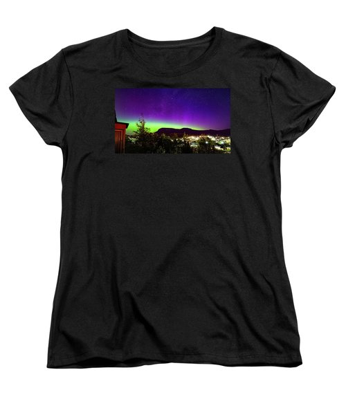 Women's T-Shirt (Standard Cut) featuring the photograph Aurora Over Mt Wellington, Hobart by Odille Esmonde-Morgan