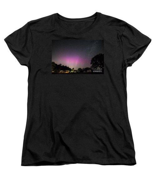Aurora Over Sagadahoc Bay Campground Women's T-Shirt (Standard Cut) by Patrick Fennell