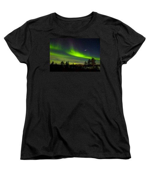 Aurora With Meteor  Women's T-Shirt (Standard Cut) by John McArthur