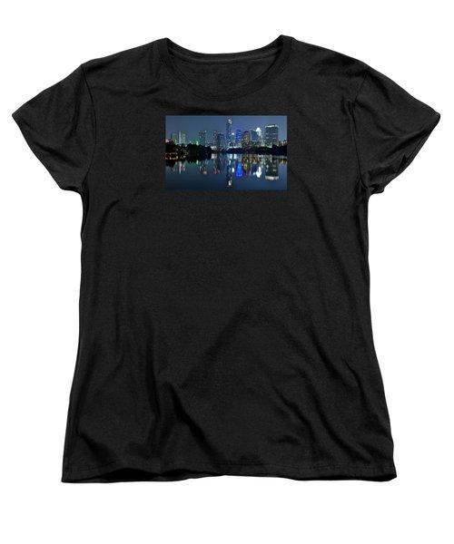 Austin Night Reflection Women's T-Shirt (Standard Cut) by Frozen in Time Fine Art Photography