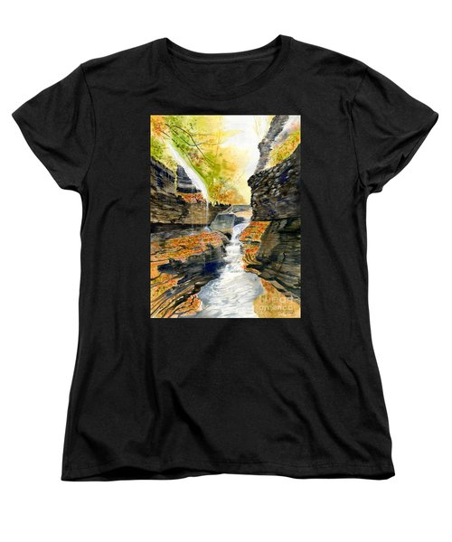 Autumn At Rainbow Falls  Women's T-Shirt (Standard Cut) by Melly Terpening