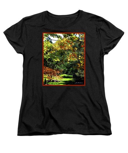 Women's T-Shirt (Standard Cut) featuring the photograph Autumn Backyard by Joan  Minchak