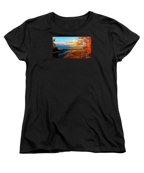 Women's T-Shirt (Standard Cut) featuring the photograph Autumn Beauty Lake Ontario Ny by Judy Via-Wolff
