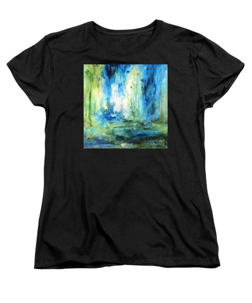 Women's T-Shirt (Standard Cut) featuring the painting Spring Rain  by Laurie Rohner