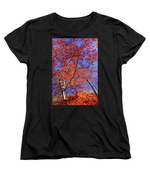 Women's T-Shirt (Standard Cut) featuring the photograph Autumn Blaze by Karen Wiles